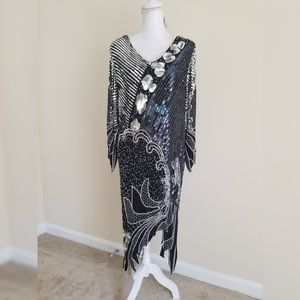 Vintage Black Silver Sequins Beaded Silk Dress